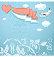 vintage background with heart and airplane vector image vector image