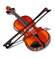 violin and bow isolated on white background vector image
