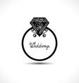 Wedding Ring with Diamond vector image