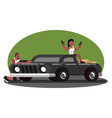 woman and man skirmish on car vector image vector image