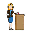 woman casting her vote at the ballot box vector image vector image