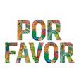 words por favor please in spanish vector image vector image