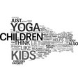 yoga for children and kids text background word vector image vector image