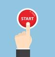 Businessman hand pressing start button vector image