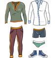 men clothes objects cartoon set vector image
