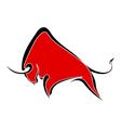 Red wild buffalo vector image