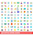 100 office work icons set cartoon style vector image vector image