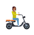 african girl riding electric scooter over white vector image vector image