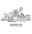 amusement park attraction icons vector image vector image