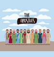 apostles and jesus in daily scene in desert in vector image
