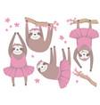 ballerina sloths vector image