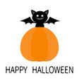 bat sitting on big pumpkin happy halloween cute vector image