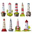 big set flat isolated lighthouses cartoon vector image