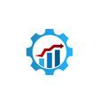 business finance logo graph bar arrow inside cog vector image vector image