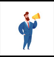 business man in suit with megaphone vector image vector image