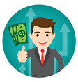 businessman earns money round vector image