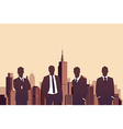 Businessman standing with a city background vector image vector image