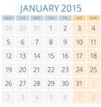 Calendar 2015 January design template vector image vector image