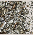 cartoon cute doodles hand drawn mexican food frame vector image vector image