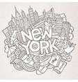 cartoon cute doodles hand drawn new york vector image