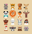 cartoon hipster animals characters icon set vector image vector image