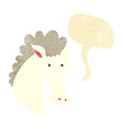 cartoon horse head with speech bubble vector image vector image