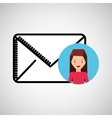 character hand draw email envelope icon design vector image vector image
