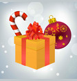 christmas candy giftbox and ball vector image