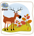 cute cartoon deer on background landscape forest vector image