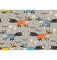 Cute seamless pattern with fox vector image vector image