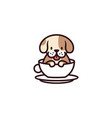 dog cup mug glass cafe logo icon vector image vector image