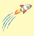 doodle flying rocket crayon style drawing vector image