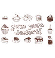 doodle large set with pastry sweets sketch drawing vector image