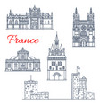 france travel bordeaux architecture icons vector image vector image