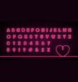 glowing neon alphabet pink neon color vector image vector image