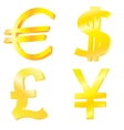 Golden currency symbols vector image
