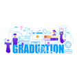 graduate students around of big word graduation vector image vector image