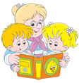 Grandma and grandchildren reading vector image vector image
