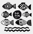 hand drawn fishes in doodle style vector image