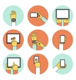 Hands Holding Touch Screen Devices Icons vector image vector image