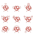 Heart power set health cardio vector image vector image