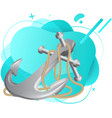 iron anchor with long rope for boat braking vector image