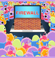 laptop with firewall protect from virus computer vector image vector image