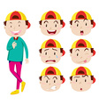 Man with facial expressions vector image vector image