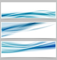 Modern header set with abstract blue wave lines vector image vector image