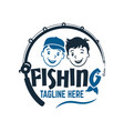 modern two fisherman friend boys logo vector image vector image