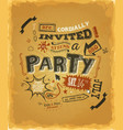 party invitation poster on kraft paper vector image vector image
