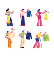 people buying dress set young and senior men vector image
