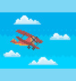 red combat aircraft while flying among clouds vector image