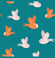 seamless pattern with flying owls on a blue vector image